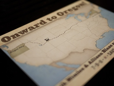 Save the Date: Onward to Oregon save-the-date invitation postcard printed print work