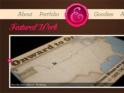 Portfolio Redesign: Featured Work Slider slider buttons pink hot pink cream brown leather ribbon navigation index home page website portfolio