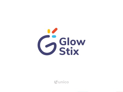 GlowStix | G Letter Logo Design graphic design wordmark logo identity minimalistic branding simple designs unicodesigner101 agency business professional event logo colorful designer