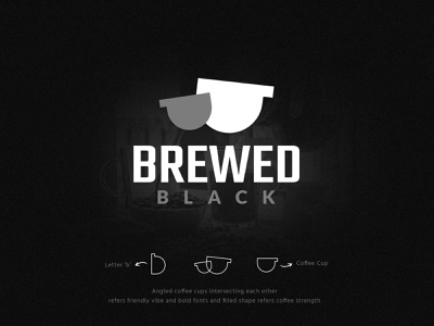 Brewed Black | Coffee Logo Design coffee logo cafe logo coffee cup black coffee shop branding design logo design simple logo branding minimalistic identity brand vector symbolic logo