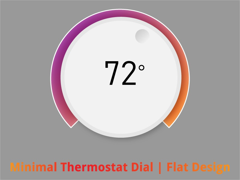 Minimal Thermostat Dial  Flat Design Illustrator youtube thumbnail template ui design sketch icon branding vector ui businessfinance fiverr illustration android app design abstract ios screenshot photoshop design