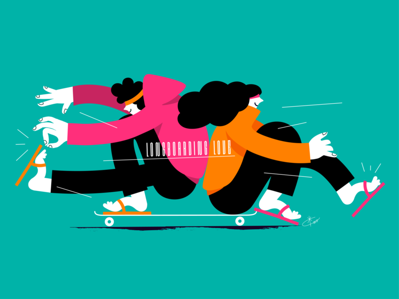 longboarding love valentine love flat longboard drawing vector ui female minimal illustration