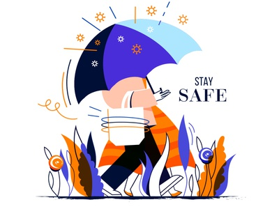 Stay safe corona vector design ui minimal illustration