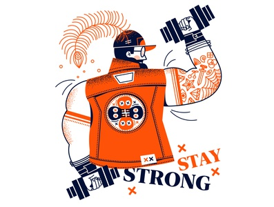 Stay strong stay home covid-19 character vector ui minimal illustration