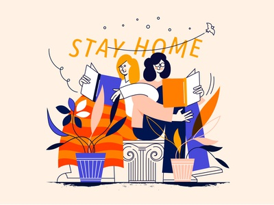 Stay home reading be happy stayhome covid-19 female vector design ui minimal illustration