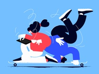 Longboarding 3 girl flat covid-19 female design vector ui minimal illustration
