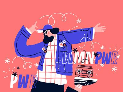 WMN PWR drawing girl female design vector ui minimal illustration