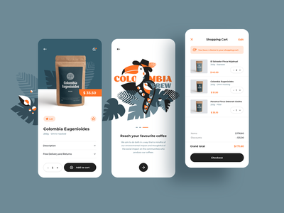 Colombia brew - mobile app design flat illustration cart coffee design ecommerce shop ecommerce app ecommerce mobile app mobile ui mobile ux ui