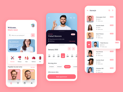 Beauty app - mobile app makeup hairstyle pink search bar icon icon design navigation bar tapbar slider flat design haircut mobile ui appointment beauty minimal modern mobile app ui ux