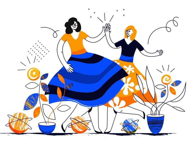 Dancing queens dancers plants characterdesign ui drawing character procreate minimal vector female illustration design