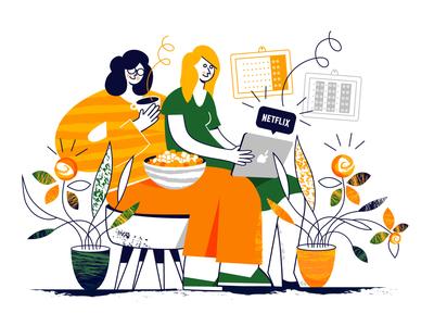 Netflix time plants evening netflix ui drawing character procreate minimal vector female illustration design