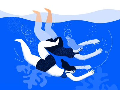 Diving holidays swimmer minimal water ui drawing character procreate female illustration design