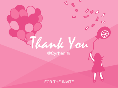 Thank You thanks debut dribbble invite illustration