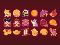 Chinese festivals stickers