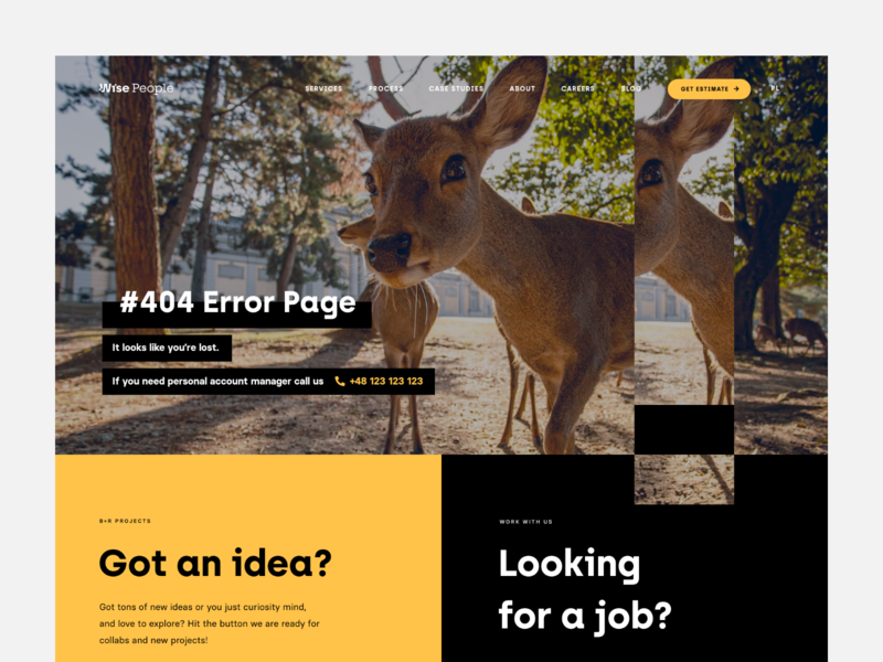 Wise People - Error Page wordpress web design website landing error page minimalism ux ui web deer wisepeople