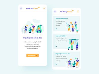Spoleczny Biznes - Mobile illustration pwa mobile app people color clean xd rwd responsive mobile design mobile ui mobile ux ui