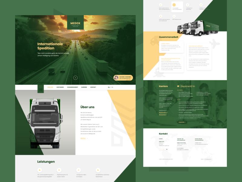 Medox Spedition branding webdesigner onepage truck quality design minimalism ux ui web landingpage