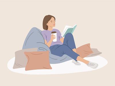 Illustration • Reading girl design read book woman illustration flat vector