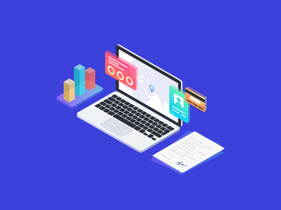 Illustration • Business vector isometric icons business illustraion