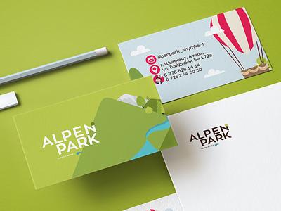 Alpen Park | branding stationery cards park aqua area relaxation hotel branding hotel illustration icon kazakhstan vector logo design branding brand
