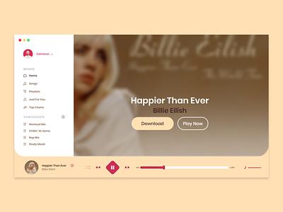 Music App (Billie Eilish) - Adobe XD ux ui ux ui design billie eilish songs desktop app music app music song ui design