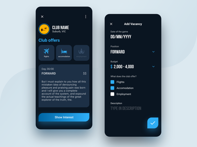 Sports Hub - Recruitment form search filter vacancy poster uiux ui design sports recruit jobs hire games dark ui dark mode dark blue app blue athlete app design app