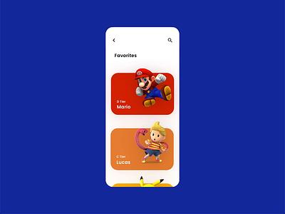 Super Smash Bros. — Mobile App nintendo marth lucas pikachu mario interface design ux designer iphone adobe xd super smash bros fighting mobile app ui design gaming app