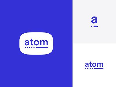 Atom Logo atom design purple mark logotype typography vector icon logo identity branding