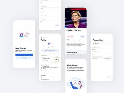 Voting App interaction design prototype 2020 election elizabeth warren figma layout blue registration voter voting ux ui design mobile app