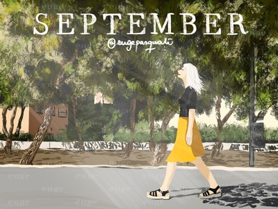 SEPTEMBER design brush digital art fashionillustrator fashionillustration illustraion colorful art brushpen season calendar womanillustration walking woman madrid