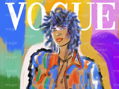 Cover Vogue magazine illustration model chanel fashioncover fashion illustration magazine fashion brand illustration brushpen digital art