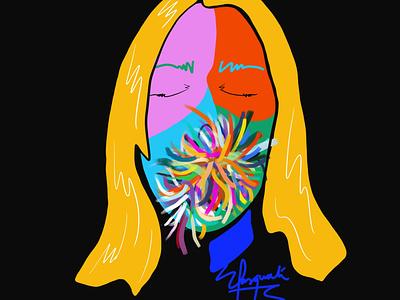 Cover portrait self-portrait face art colorful portrait popart branding painting brushpen fashion illustration design fashion brand contemporaryart fashionillustration colorful art digital art