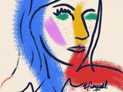 Tina brush brush texture primary colors logo face woman illustration woman portrait canvas print canvas art fashion brand fashion illustration colorful painting fashionillustration contemporaryart illustration colorful art digital art brushpen