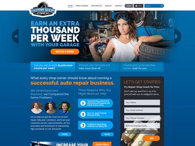Homepage Concept for RepairShopCoach.com blue automotive photoshop