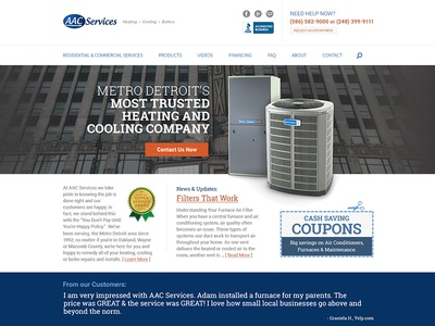 Concept for Heating/AC Vendor based out of Metro Detroit. ui responsive service industry