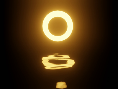 Light and Water render eevee sci-fi reflection dark light black gold yellow animation 3d blender