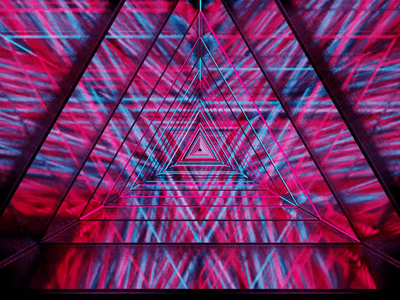 Light and Mirrors red mirror sci-fi experiement animation 3d blender tunnel blue pink neon light neon light