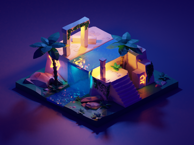 Low Poly Ruins Scene illustration light palm trees ruins neon glyphs waterfall purple dark 3d blender low poly