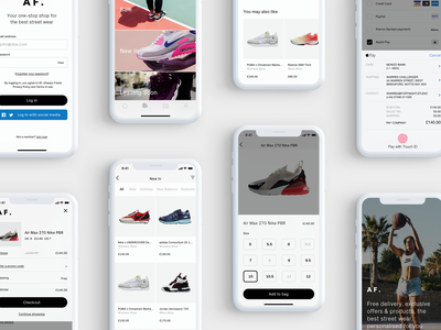 Shopping for Trainers sports shoes nike mobile streetwear shopping app checkout ux appdesign ui minimal shopping grey trainers white app product design