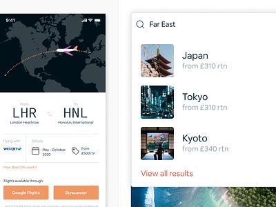 Jack's Flight Club flight search travel ticket booking holiday flight orange purple white uiux ui app product design product