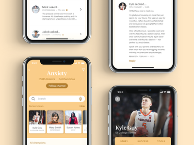 Community App — Helping Each Other orange pressure social community help mental health anxiety app ux ui product design
