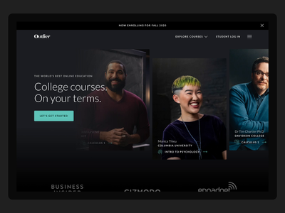 Outlier — The Future of Online Education college lato styleguide education green black desktop web design ux ui design web