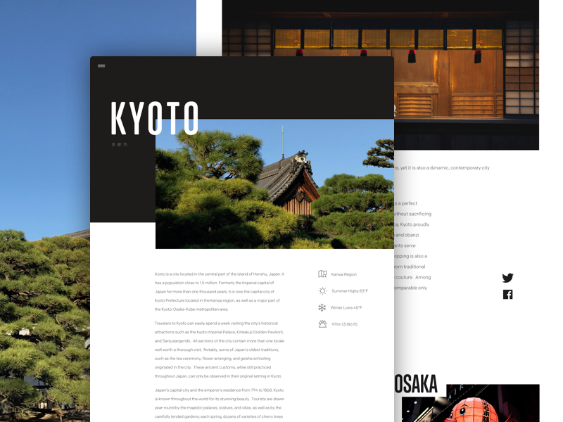 Article Layout - Kyoto #3 web design ux ui typekit sketch kyoto japan desktop design content article