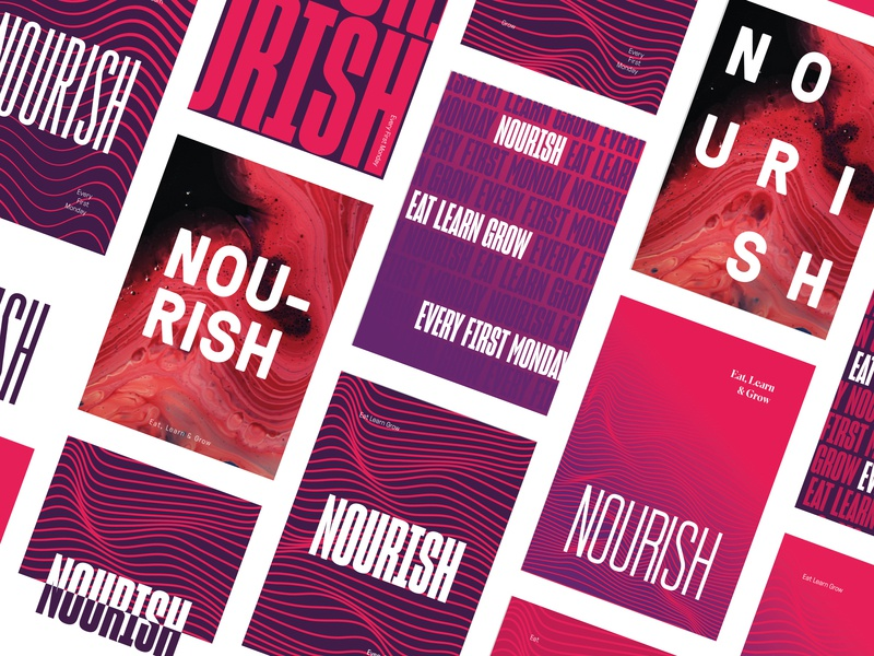 NOURISH Posters waves fonts typography purple pink red lunchandlearn jh branding logo graphic design poster