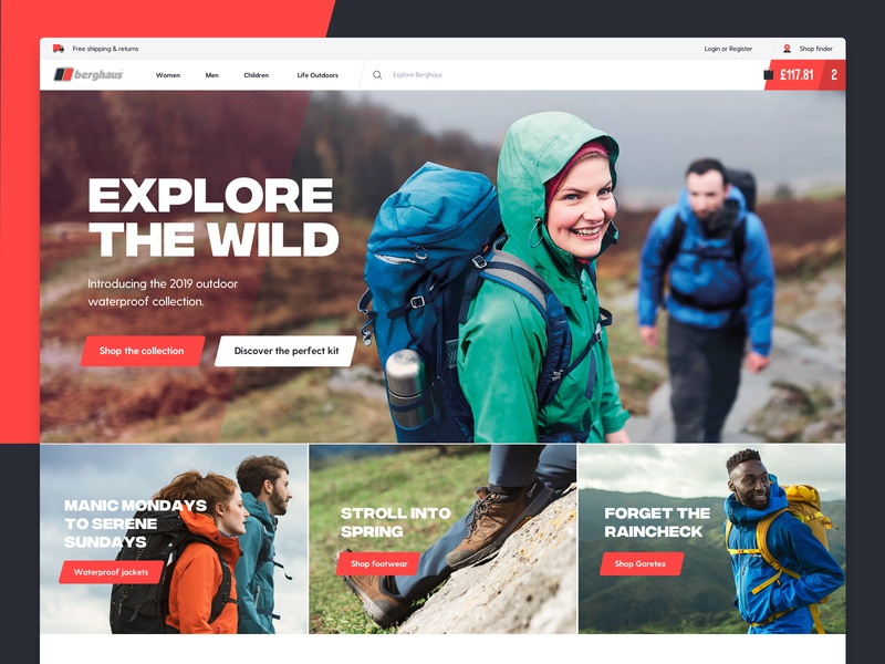 Berghaus Home Page & Mega Menu mega menu menu icons slant explore vibrant red dark blue ecommerce shoes coats outdoors navigation berghaus home page desktop ux design web design ui