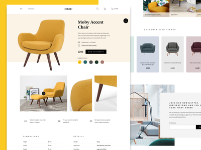 MADE.com Product Detail ecommerce ecommerce design madecom made uxdesign uidesign webdesign furniture chair yellow product detail page product sketch vector concept desktop ux design web design ui