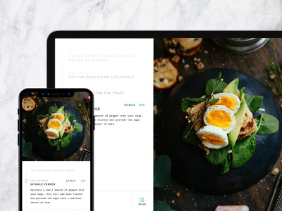 Cooking App / Product ipad iphone minimal step-by-step instructions cooking green white productdesign product design product appdesign app uxdesign ux design ui design uidesign ux design ui