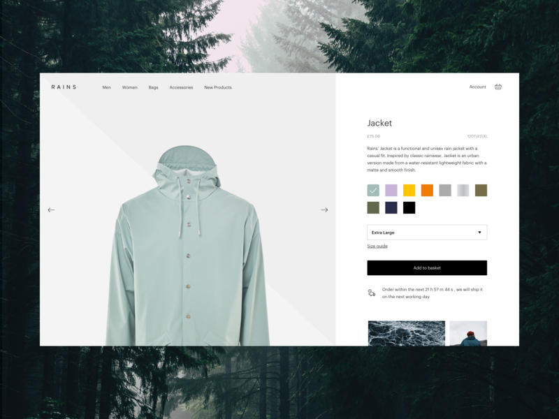 Clothing Product Detail Page detail product rains rain ecommerce coat uxdesign uidesign layout desktop web design ux design ui