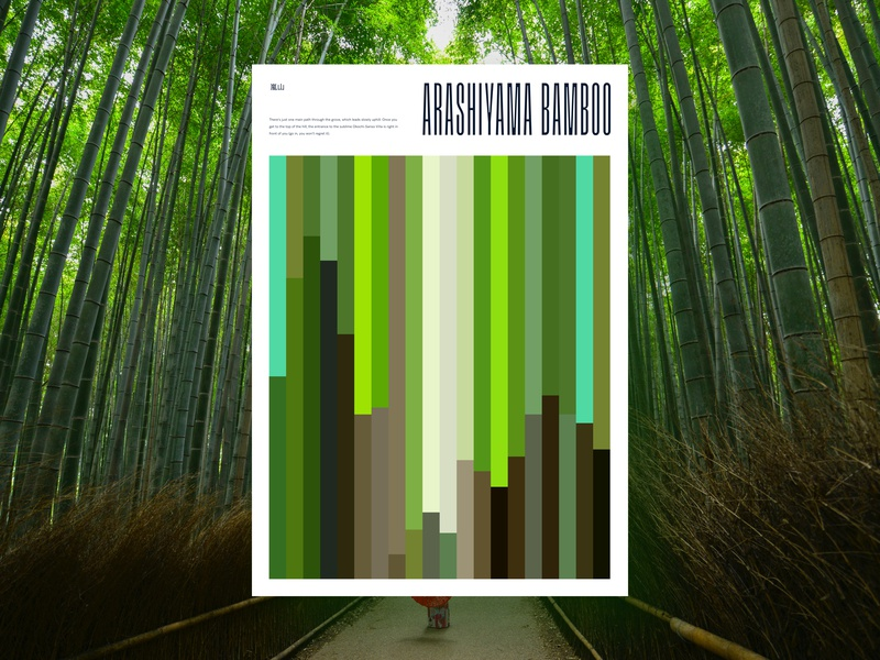 Arashiyama Bamboo Grove Poster colour green vertical minimal arashiyama japan bamboo poster design graphic  design graphic