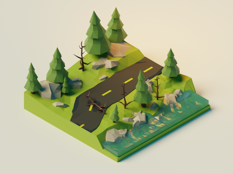 Low Poly Forest Scene in Blender beginner learning tutorial water lowpoly poly tree green forest blender3d blender 3d